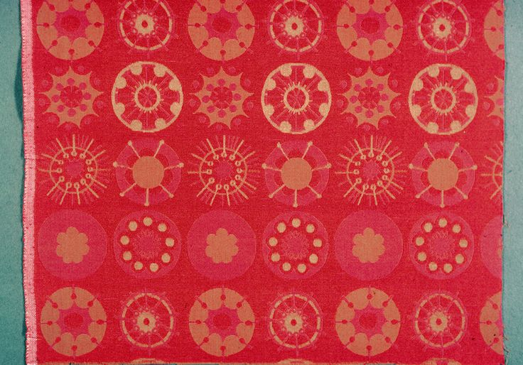 Jacquard woven upholstery square from Finland, woven by Marjatta Metsovaara-Nystrom, 1960-69.