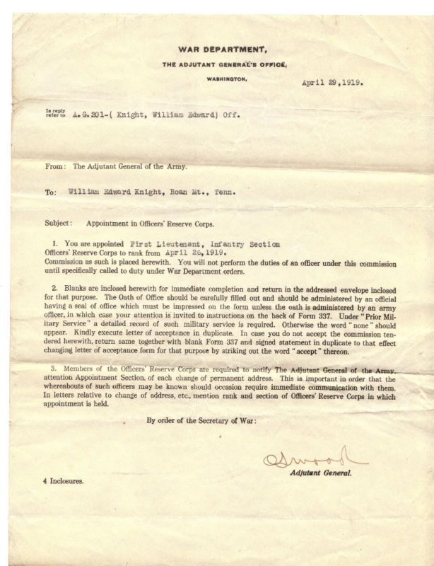 1919 war dept officer appointment correspondence letter News to Go