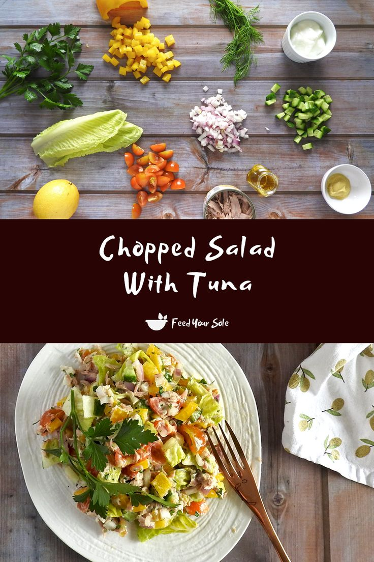Jun 18, 2020 – A super fresh, healthy and tasty chopped salad with tuna. Tossed in a mustard yogurt dressing. Makes a be…