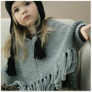 Poncho tricot 2 - 4 - 6 ans