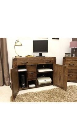 solid walnut hidden home office. Solid Walnut Hidden Home Office - Shiro At STORE. Innovative Designed To Hide All Of Your Computer Equipm. A