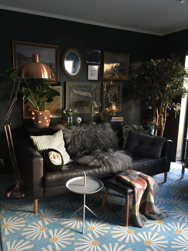 A Gorgeously Dark And Dramatic Family Home In Norway Dark Living Rooms Living Room Decor House Interior
