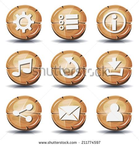 Funny Wood Icons And Buttons For Ui Game/ Illustration of a set of cartoon comic wooden gui icons and buttons elements, with main user interface app functions - stock vector