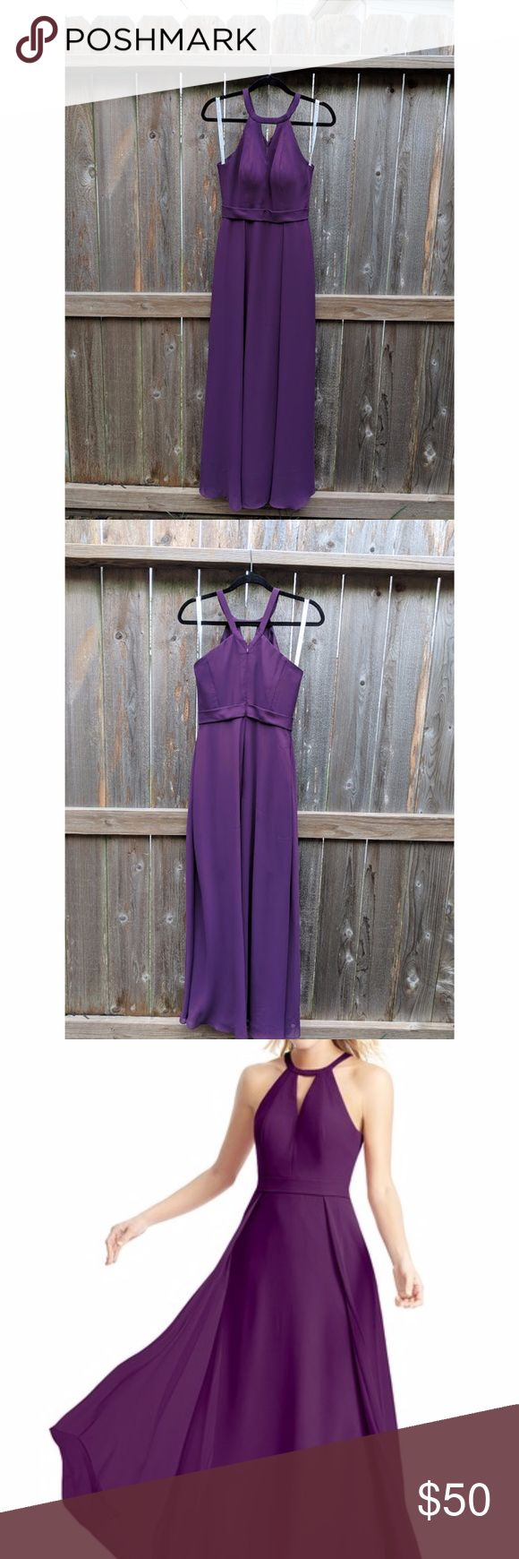 """Grape Maxi Dress (OBO) Used: Like new dress from Azazie Fit: Flattering fit for most with hidden pockets Fabric: Soft fabric lays comfortably on hips and thighs, will not ride up while walking or dancing, not see through Length: I'm 5'3"""" and length was perfect with 3"""" pumps Size: 2-4 US* (could fit someone who usually wears a regular size small, I'm 125 lbs and it was a perfect fit) Price: All prices are negotiable, let's make a deal *See screenshot of dress measurements azazie Dresses Maxi"""