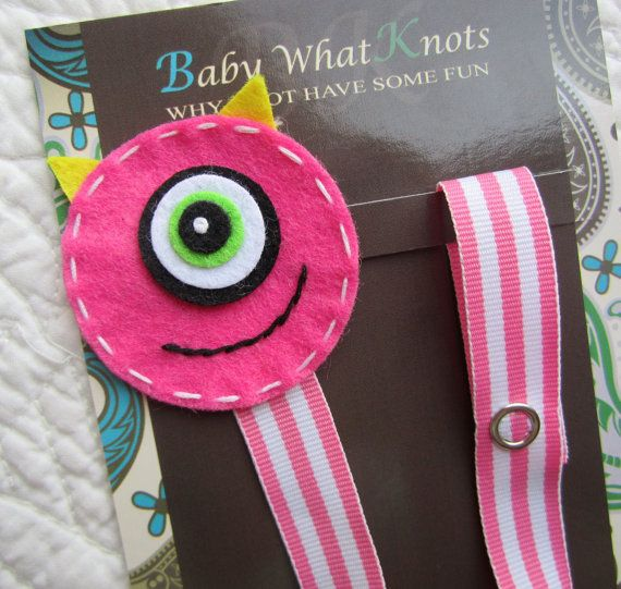 Girl Pacifier Clip, Pink Monster Pacifier Clip, Monsters Inc Pacifier Holder, pcmonster02
