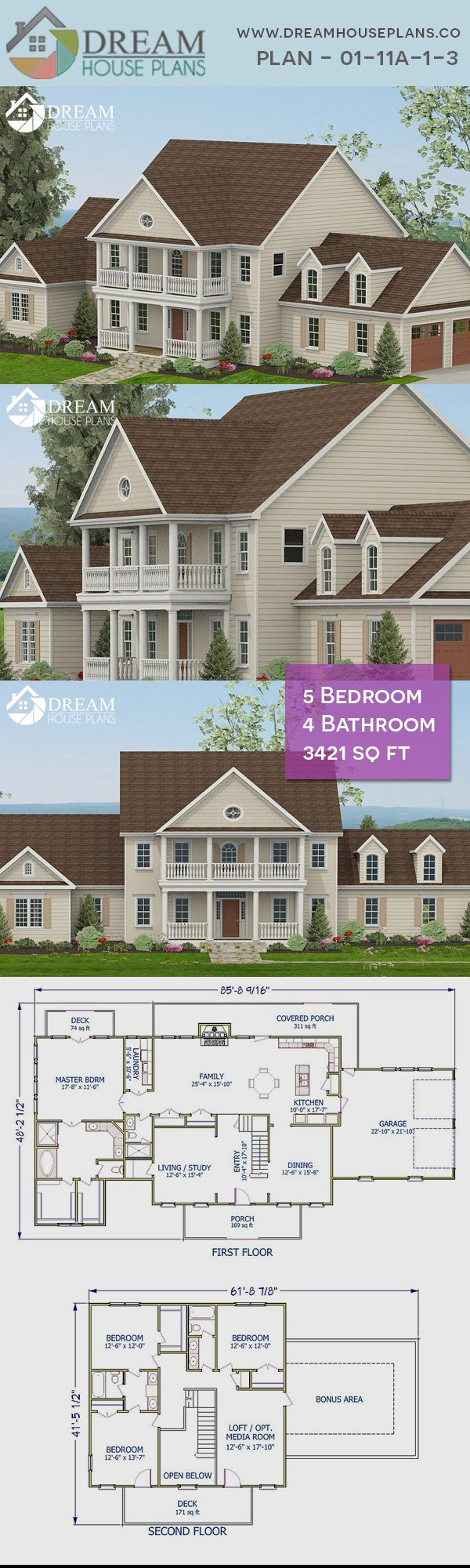 Dream House Plans Simple Yet Luxury Colonial 5 Bedroom 3421 Sq Ft House Plan With Basement We Dream House Plans Traditional House Plans Porch House Plans