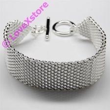 New 925 Sterling Silver Plated Band Chain Bracelet Fashion Bangle Bracelets