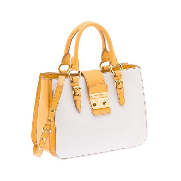 Miu Miu RN0799 2A11 F0A7U Madras Bicolore Tote – White / Yellow