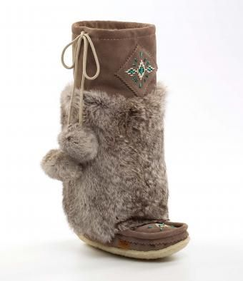 Rimrock Charcoal suede outer with grey rabbit fur womens mukluks Tall Tecumseh Canada mukluks and moccasins