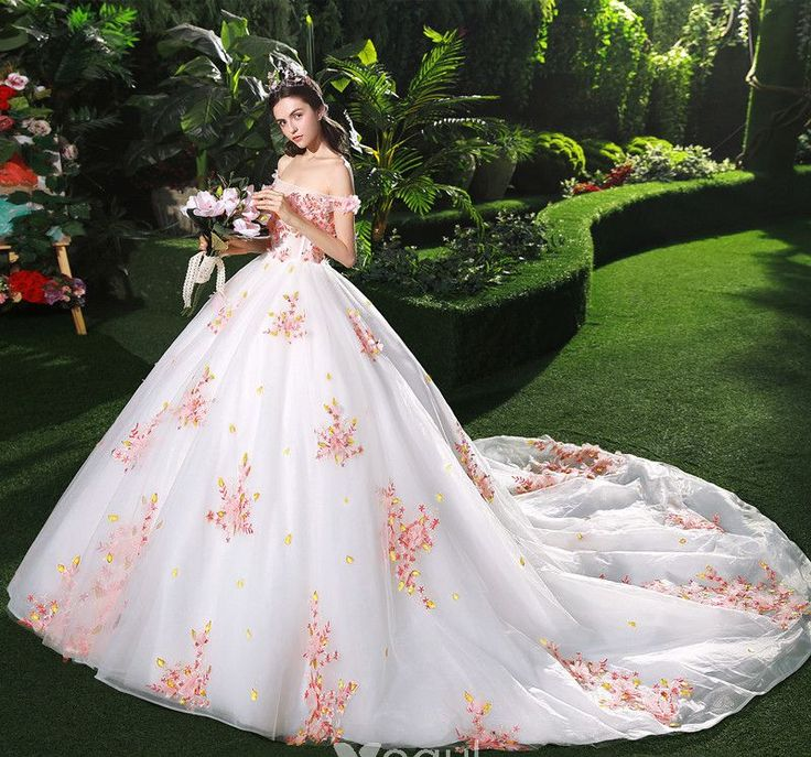 Chic / Beautiful White Wedding Dresses 2018 Ball Gown Appliques Pearl Pink Flower Crystal Pearl Sequins Off-The-Shoulder Backless Sleeveless Cathedral Train Wedding