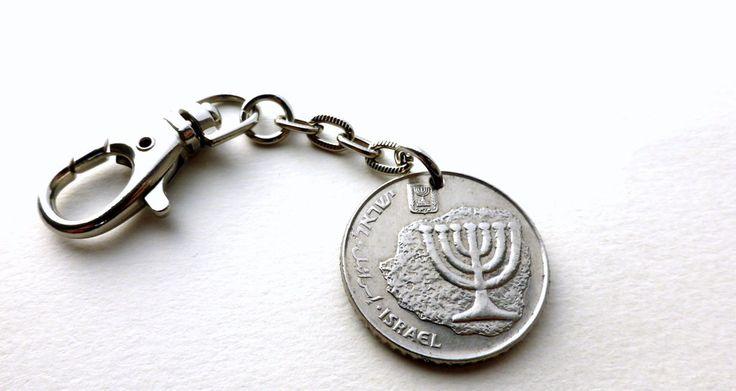 Keychain, Israel, Coin keychain, Jewish charm, Hanukkah, Menorah, Hebrew, Bar Mitzvah, Jewish jewelry, Gift under 20, Coin, Charm, 1984 by CoinStories on Etsy
