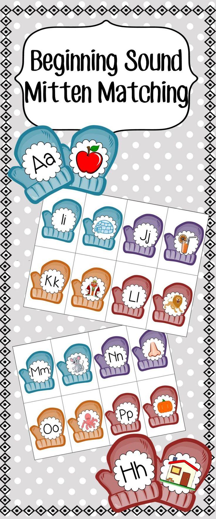 Beginning Sound Mitten Matching Game - Pre-K, Kindergarten, First Grade Literature Center Activity. Match Letter Mittens to Their Corresponding Cartoon Picture. Fun Winter or Christmas Activity