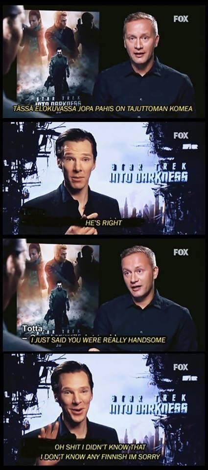 Benedict Cumberbatch. I love him. He's so modest lol it's cute