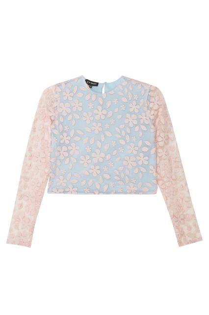 Кружевной топ T-Skirt - Топ имеет два слоя: основание из голубой ткани и внешний слой – розовая сетчатая ткань с узором в виде цветов и листьев в интернет-магазине модной дизайнерской и брендовой одежды