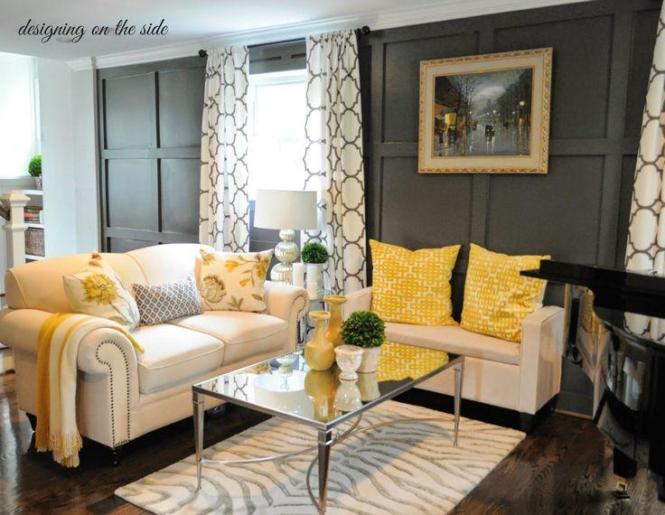Great Yellow U0026 Gray Living Room, Zebra Rug, Yellow Geometric Throw Pillows  U0026 Trellis