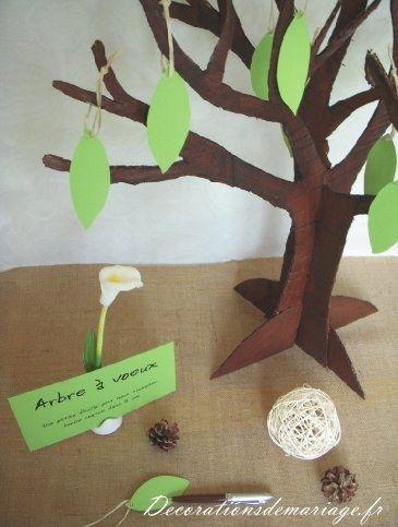 Idées de décoration de mariage : faire part, marque place, menu... - Thème nature champêtre : arbre à voeux en carton