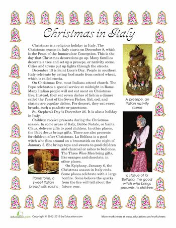 Worksheets: Christmas in Italy