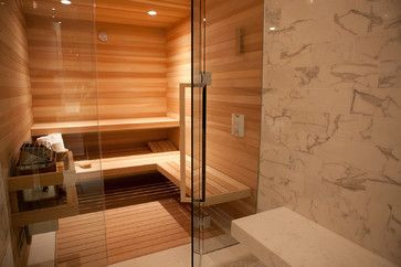 Steam Room contemporary bathroom.  Mark likes the idea of going straight from the shower into the sauna.