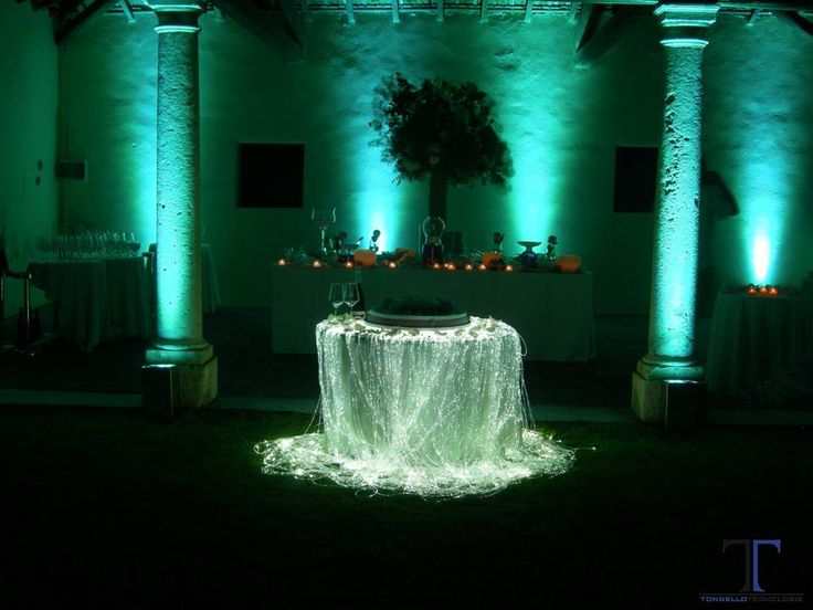 Wedding cake Optic Fiber table lighting with LED Uplighting for wedding decorations on wedding backdrop decorations etc