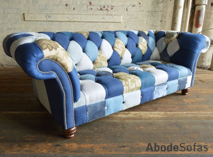 Modern British Handmade Patchwork Chesterfield Sofa. Totally Unique Fabric 3 Seater, Shown in a Blue & Cream Tones. | Abode Sofas