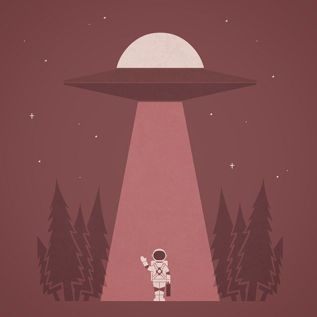 Bye Bye #astronaut #ufo #illustration by handsoffmydinosaur