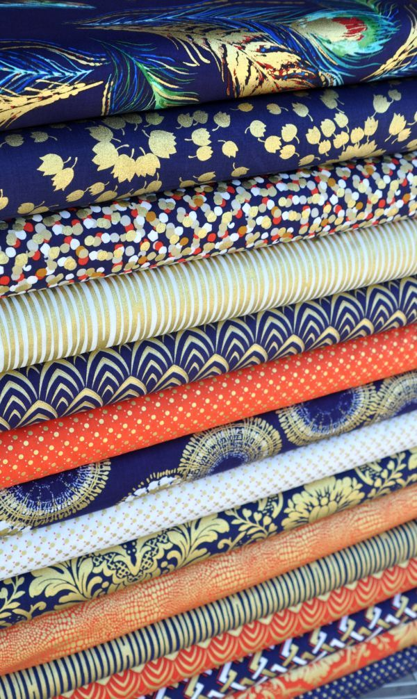 Gilt Trip from Stella House Designer, navy and orange fabric with gold metallic prints