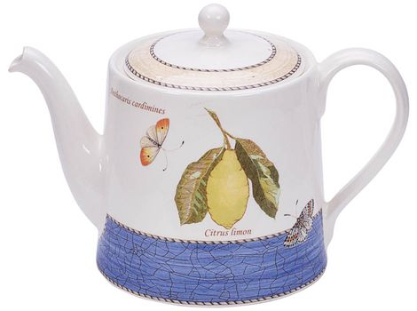 """#wedgwood  """"Sarah's Garden"""". This blue teapot is rendered in simple, elegant earthenware and features a subtle pastel borders and lovingly hand-rendered botanical motifs. #thomasjewellers"""