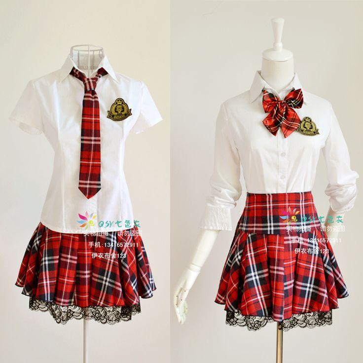 Etiquette sweet temperament Korean Institute of British school uniforms uniforms Ban red plaid dress costumes lace suit - Taobao