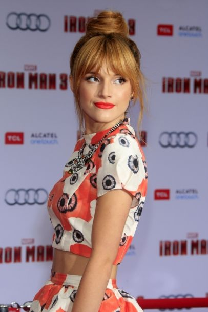 Bella Thorne- her topknot w/ those bangs is perfect!