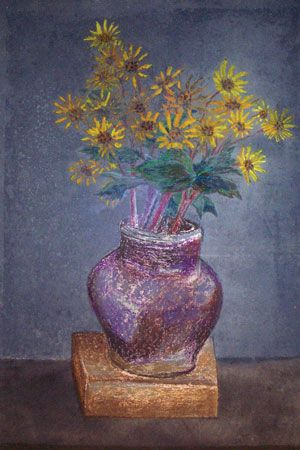 Homemade Painting of a Homemade Bouquet of Sand Dune Daisies in a Homemade Vase - Morris Graves