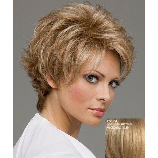 Stylish Fluffy Side Bang Noble Charming Short Wave Human Hair Women's Capless Wig (27/613#) in Human Hair Wigs | DressLily.com