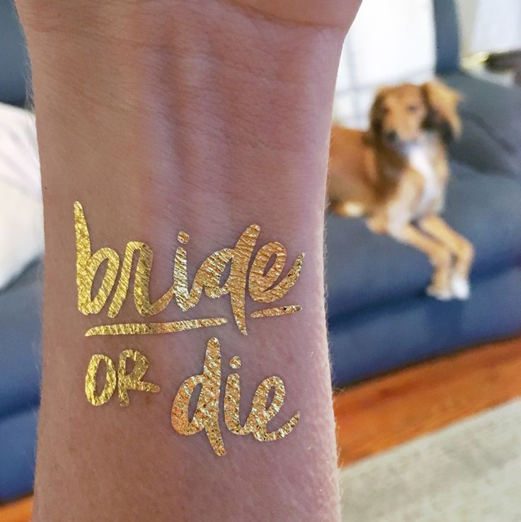 Bride or die temporary tattoos gold metallic flash for Bachelorette party tattoos