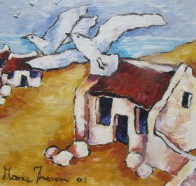 Artist Marie Theron Painting and Doodling Just Anything That Comes to Mind: Bird's Eye View of Cottages