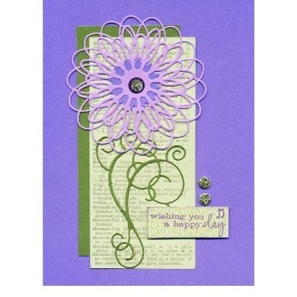 "Stamps:  B1853 - Wishing You Combo  G1838 - Vintage Dreams      Paper:  6x6-VIOLA  SH-DILL      Other Supplies  ColorBox Seattle Sky and Grape Slushy Archival Dye Inkpads  Diecut Machine and Plates  5/16"" Circle Punch  Clearsnap Grape Slushy and Peridot Glitter  1/4"" Foam dots  Scor-Tape: Memories Box"