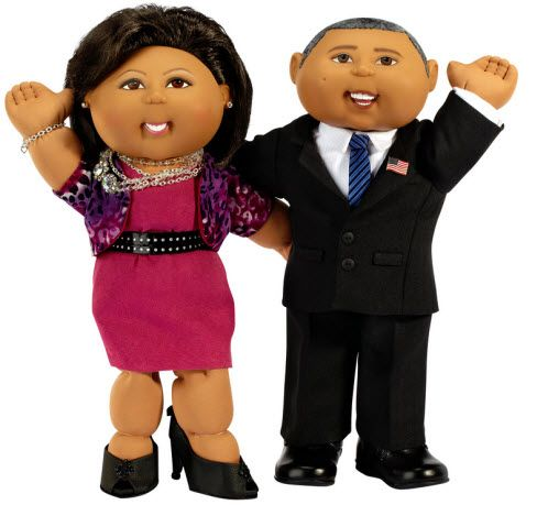 Barack Obama and Michelle Obama as Cabbage Patch Dolls