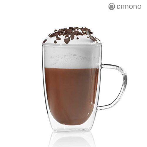 Doppelwandige Tasse 300ml Teetasse Thermotasse Kaffeetasse Glastasse mundgeblasen von Dimono