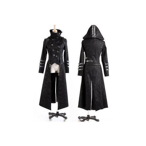 Fashion Men Punk Streampunk Visual Kei Gothic Long Jacket Coat Hoodie... ❤ liked on Polyvore featuring men's fashion, men's clothing, men's apparel, goth mens clothing, gothic men's clothing and mens clothing