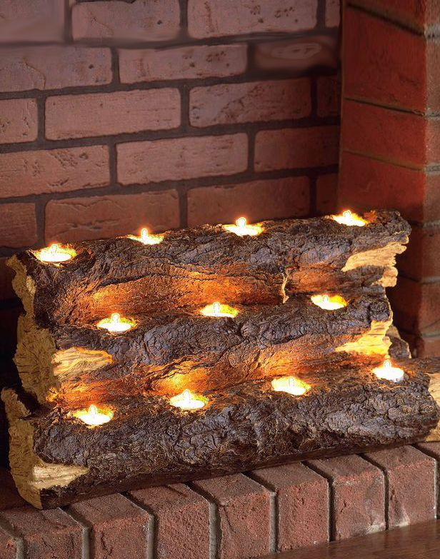 Safe Flickering Tealight Fire Logs