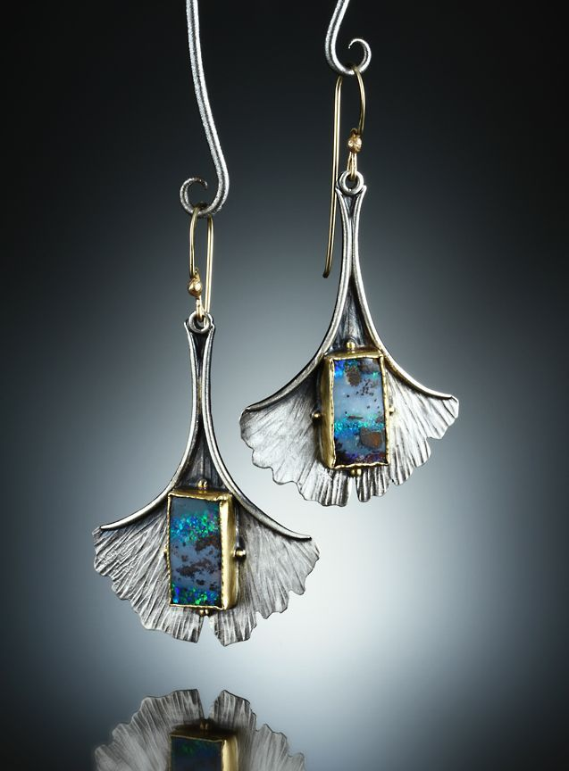 Boulder Opal Earrings. Fabricated Sterling Silver, 14k and 18k. www.amybuettner.com https://www.facebook.com/pages/Metalsmiths-Amy-Buettner-Tucker-Glasow/101876779907812?ref=hl https://www.etsy.com/people/amybuettner http://instagram.com/amybuettnertuckerglasow