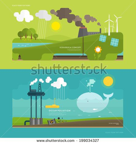 Ecology Concept Vector Illustration for Environment, Green Energy and Nature Pollution Designs. Flat Style. - stock vector