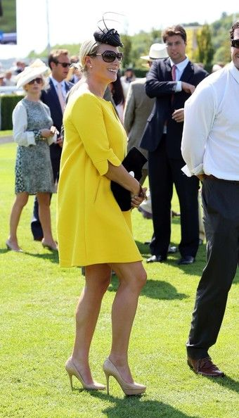 Zara Phillips Photos Photos - Thursday August 1, 2013. - Pregnant grandchild of the Queen, Zara Phillips arrives at Ladies Day at the Glorious Goodwood event at Goodwood racecourse in England