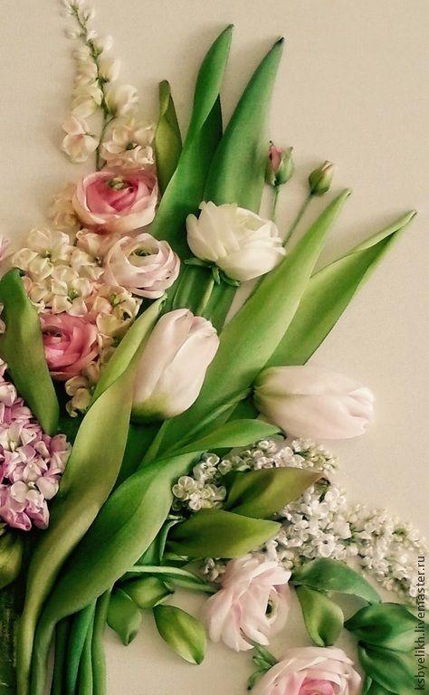 Купить Весенние цветы - весенние цветы, тюльпаны, левкой, сиреневый цвет, букет цветов, панно