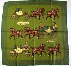 MINT Auth Vintage Hermes Scarf 'Coach and Saddle' 100% Silk 90 cm Carre Foulard