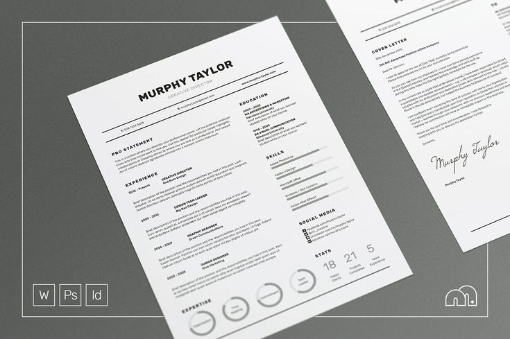 Resume/CV - Murphy - Resumes - A super simple design which contains a lot of useful information, including charts, skill bars and stats, 'Murphy' offers a meticulously crafted layout to suit any profession. Also included is a matching cover letter (including sample letter) for a complete presentation.