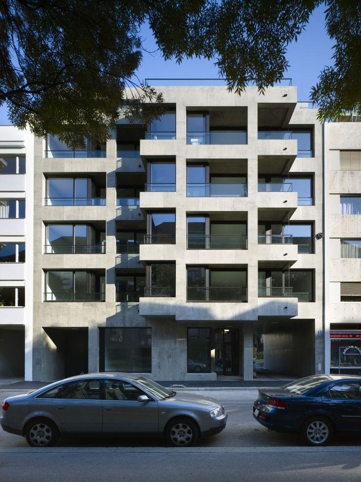 Miller & Maranta . Neubau Wohnungen Sempacherstrasse . Basel (14) gevel terrassen inpandig structuur ritme compositie