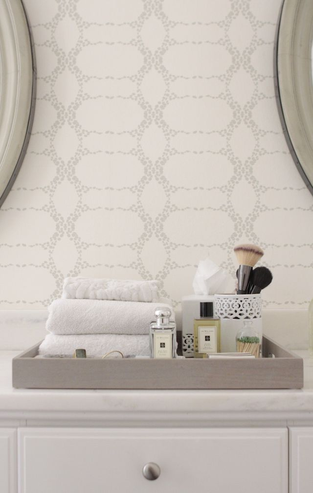 Beautiful Elizabeth Geometric Wallpaper. White Bathroom VanitiesBathroom TrayGrey ... Design Ideas