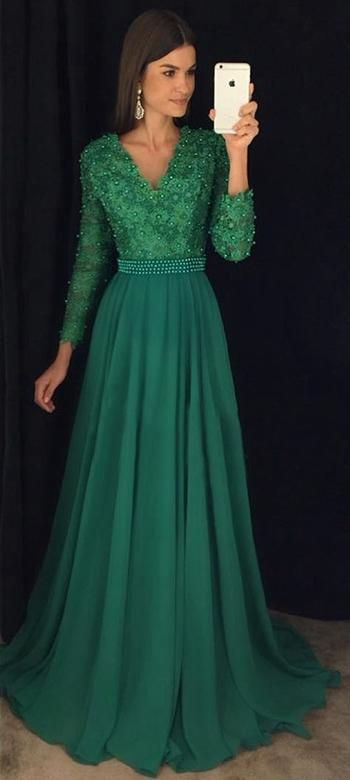 V-neck A-line Long Prom Dress With Applique and Beading Wedding Party Dress Formal Dress PDS0463