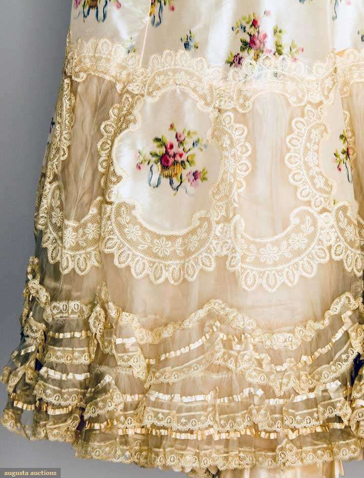 Detail ~ 1900 Flounced petticoat of Valenceinnes lace & ivory satin ribbons. Printed w/ delicate floral baskets ~ Augusta Auctions