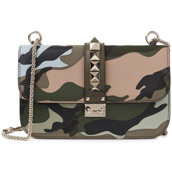 Womens Shoulder Bags Valentino Lock Medium Camouflage Shoulder Bag (8.715 RON) ❤ liked on Polyvore featuring bags, handbags, shoulder bags, black leather purse, camo shoulder bag, black studded handbag, black studded purse and leather purse