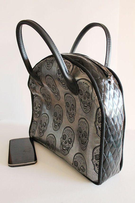 vinyl handbag black and grey with skull and small by Artepolis